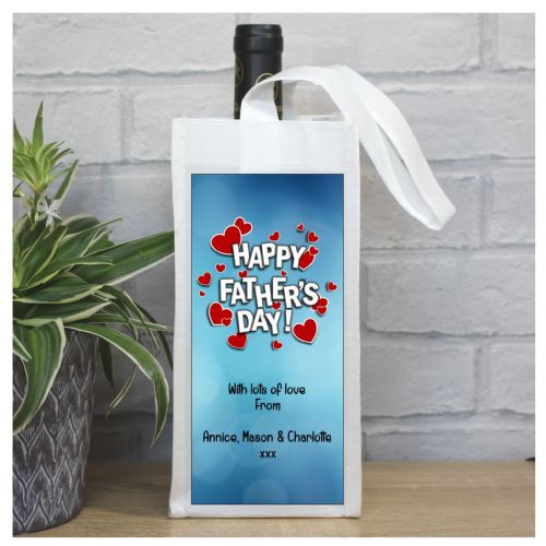 Personalised Happy Fathers Day Bottle Bag N109
